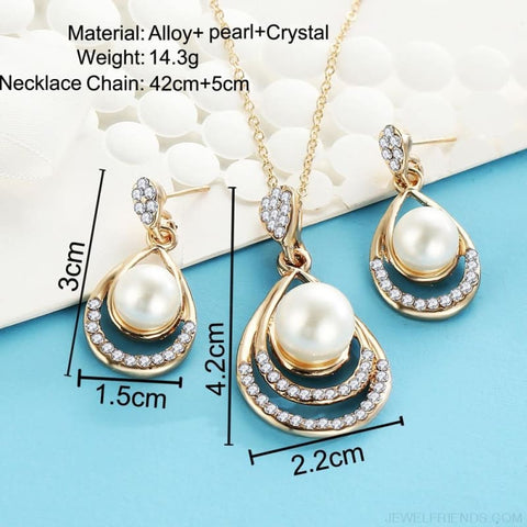 Image of Water Drop Simulated Pearl Crystal Jewelry Sets - Custom Made | Free Shipping