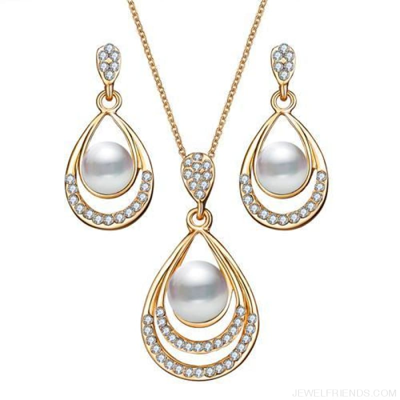 Water Drop Simulated Pearl Crystal Jewelry Sets - Njdy837 - Custom Made | Free Shipping