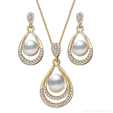 Image of Water Drop Simulated Pearl Crystal Jewelry Sets - Njdy837 - Custom Made | Free Shipping
