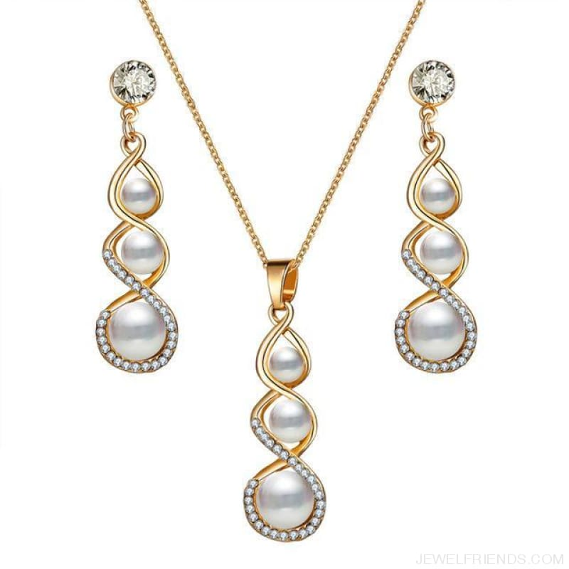 Water Drop Simulated Pearl Crystal Jewelry Sets - Njdy838 - Custom Made | Free Shipping