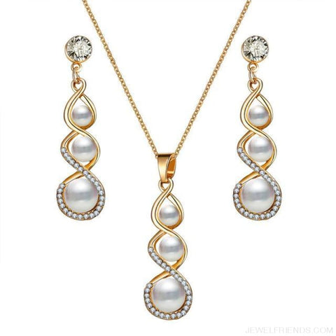 Image of Water Drop Simulated Pearl Crystal Jewelry Sets - Njdy838 - Custom Made | Free Shipping