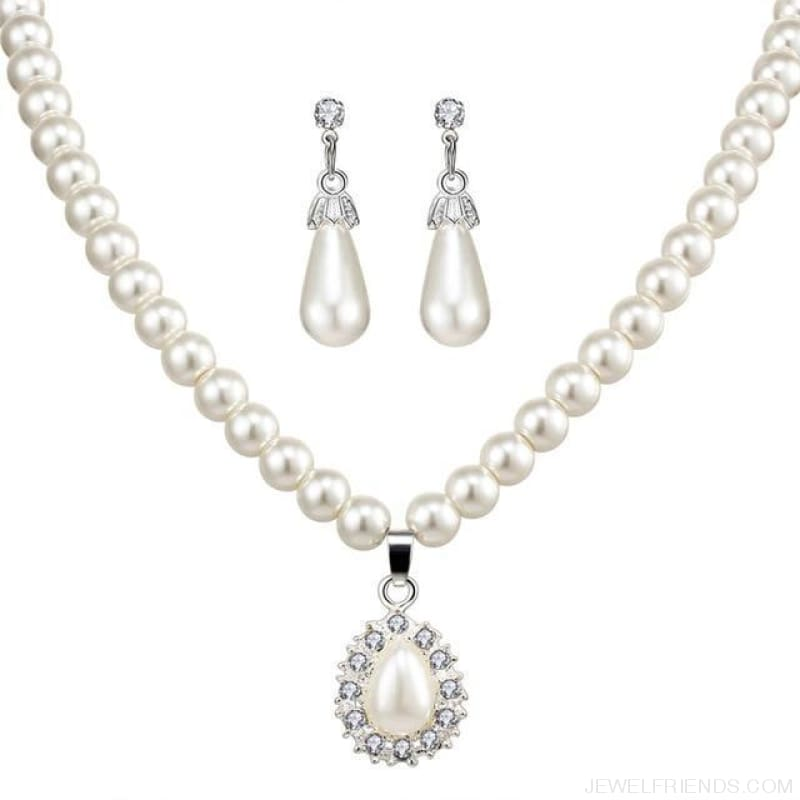 Water Drop Simulated Pearl Crystal Jewelry Sets - Njdy842 - Custom Made | Free Shipping