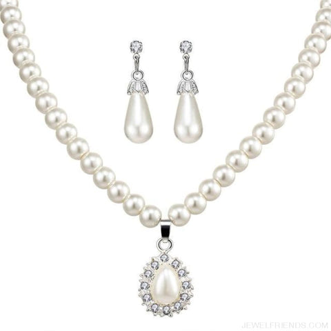 Image of Water Drop Simulated Pearl Crystal Jewelry Sets - Njdy842 - Custom Made | Free Shipping