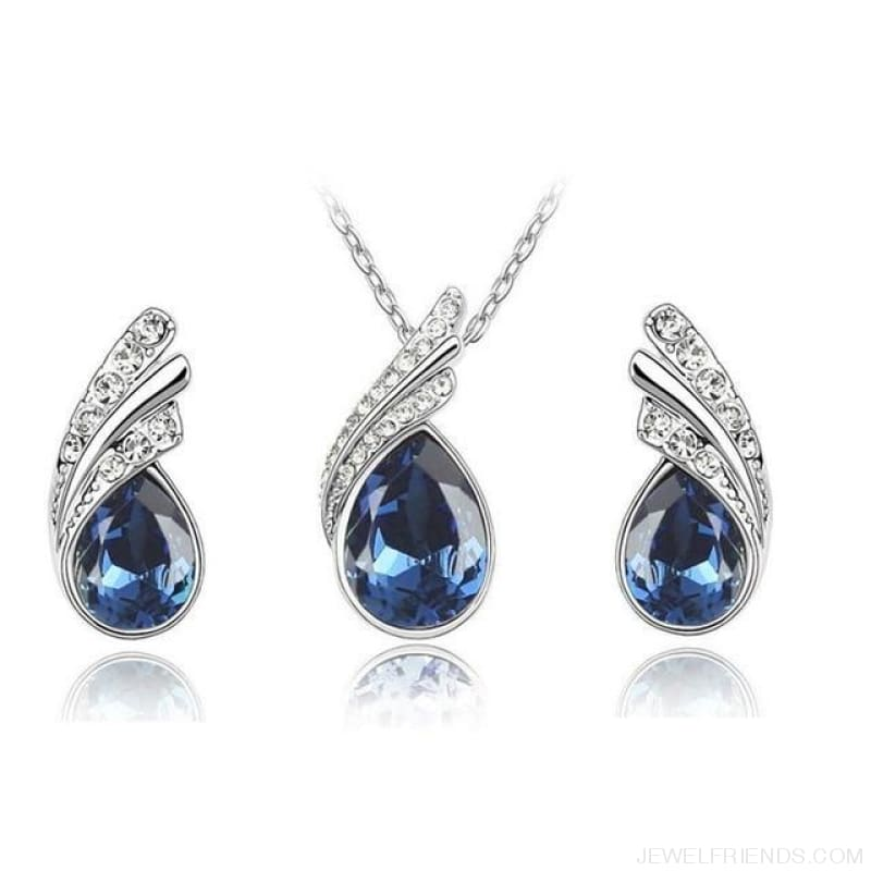 Waterdrop Crystal Earring Necklace Set - Blue - Custom Made | Free Shipping