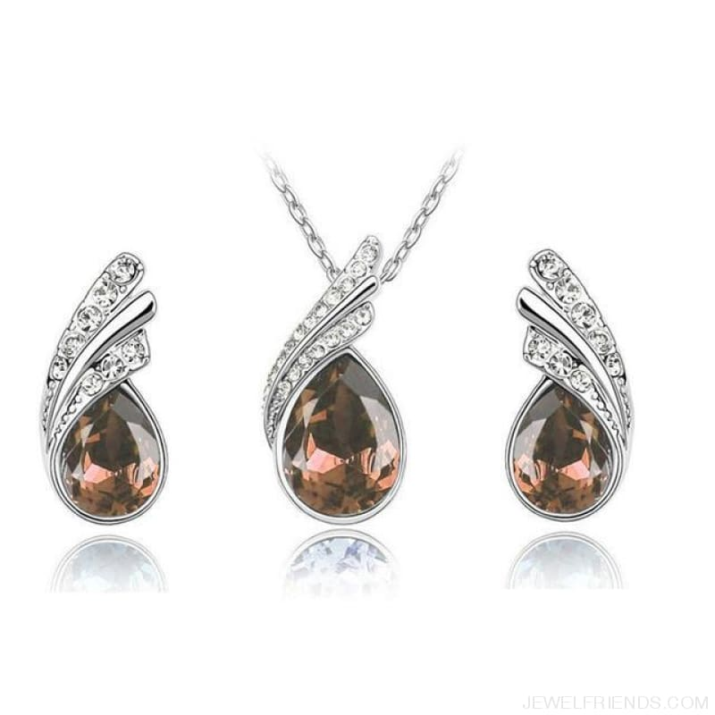 Waterdrop Crystal Earring Necklace Set - Champagne - Custom Made | Free Shipping