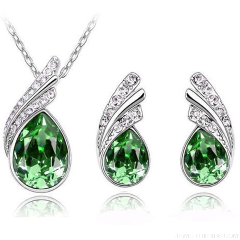 Waterdrop Crystal Earring Necklace Set - Green - Custom Made | Free Shipping