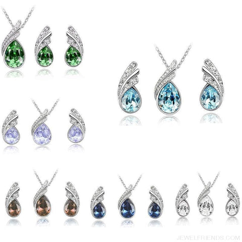 Image of Waterdrop Crystal Earring Necklace Set - Custom Made | Free Shipping