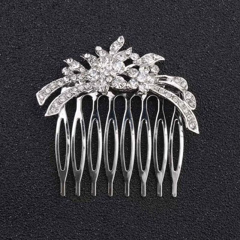 Wedding Hair Combs Crystal Rhinestones Pearls - Hs-J162 Silver - Custom Made | Free Shipping
