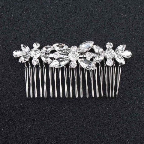 Image of Wedding Hair Combs Crystal Rhinestones Pearls - Hs-J2615 Silver - Custom Made | Free Shipping