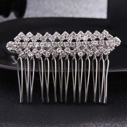 Image of Wedding Hair Combs Crystal Rhinestones Pearls - Hs-J2830 Silver - Custom Made | Free Shipping