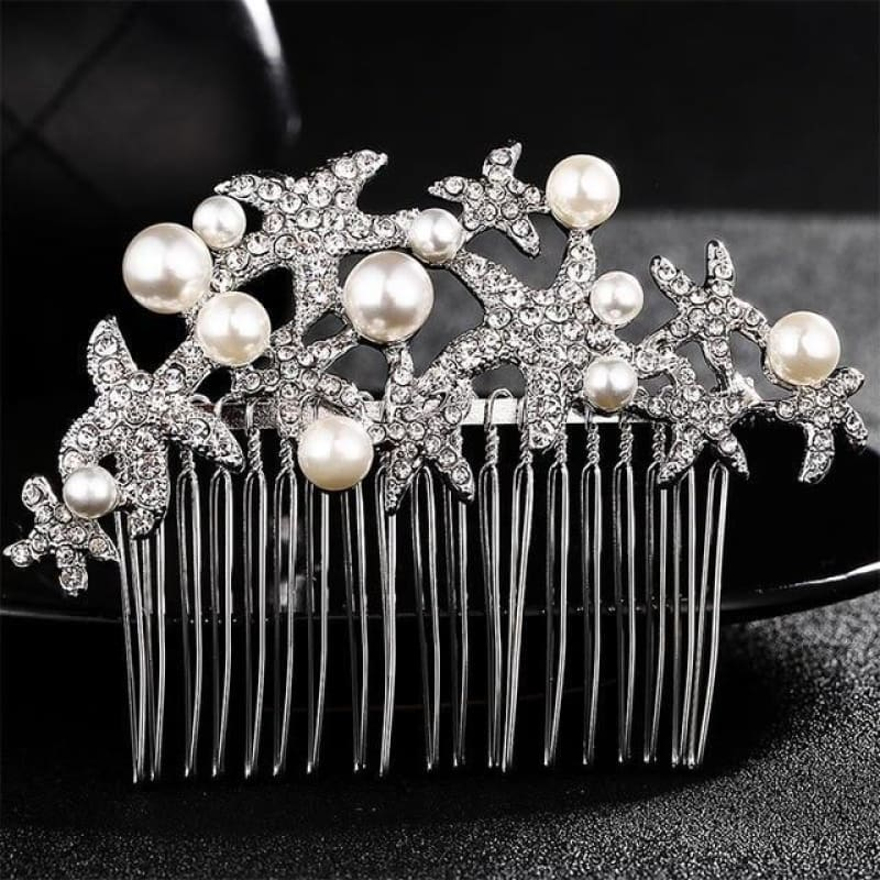 Wedding Hair Combs Crystal Rhinestones Pearls - Hs-J3180 Silver - Custom Made | Free Shipping