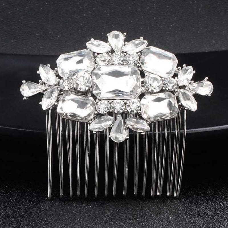 Wedding Hair Combs Crystal Rhinestones Pearls - Hs-J3569 Silver - Custom Made | Free Shipping
