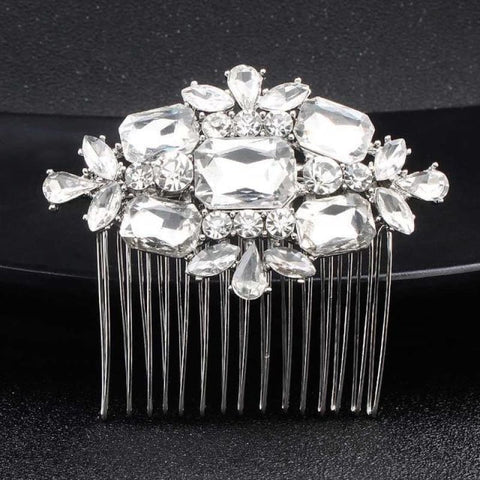 Image of Wedding Hair Combs Crystal Rhinestones Pearls - Hs-J3569 Silver - Custom Made | Free Shipping
