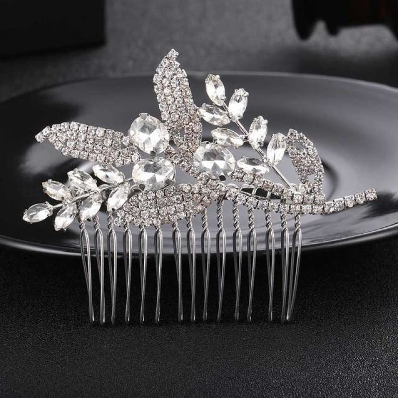 Wedding Hair Combs Crystal Rhinestones Pearls - Hs-J3596 Silver - Custom Made | Free Shipping