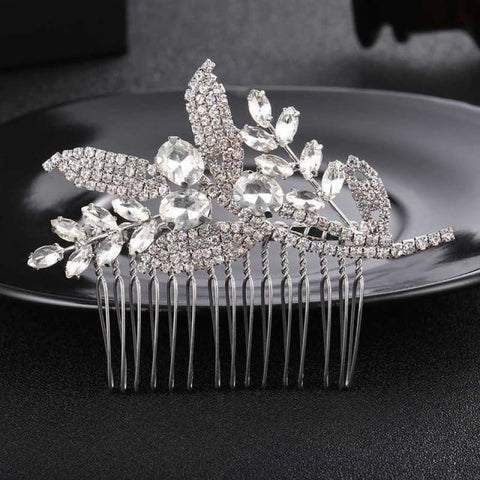 Image of Wedding Hair Combs Crystal Rhinestones Pearls - Hs-J3596 Silver - Custom Made | Free Shipping