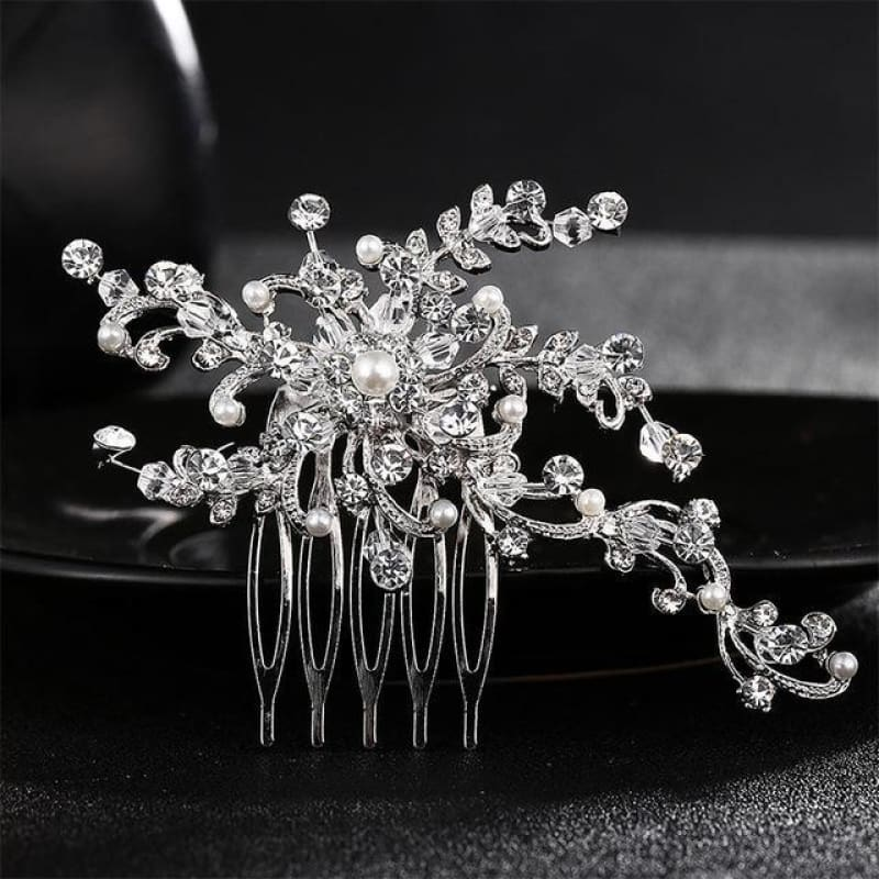 Wedding Hair Combs Crystal Rhinestones Pearls - Hs-J3856 Silver - Custom Made | Free Shipping