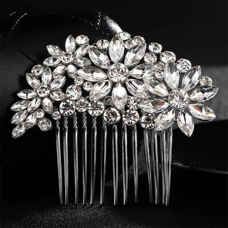 Wedding Hair Combs Crystal Rhinestones Pearls - Hs-J3896 Silver - Custom Made | Free Shipping