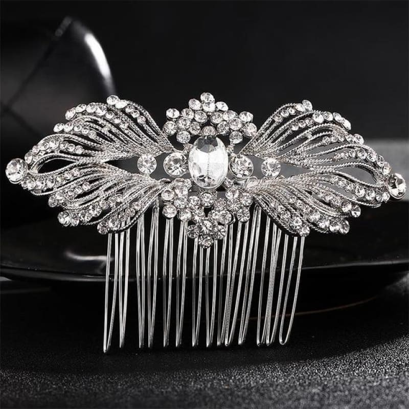 Wedding Hair Combs Crystal Rhinestones Pearls - Hs-J4031 Silver - Custom Made | Free Shipping