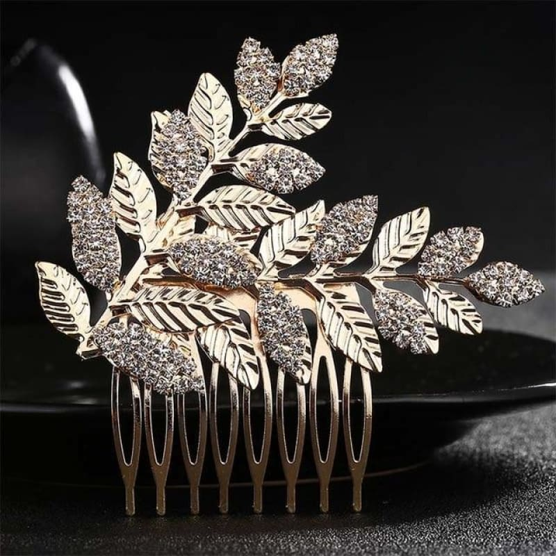Wedding Hair Combs Crystal Rhinestones Pearls - Hs-J4177A Gold - Custom Made | Free Shipping