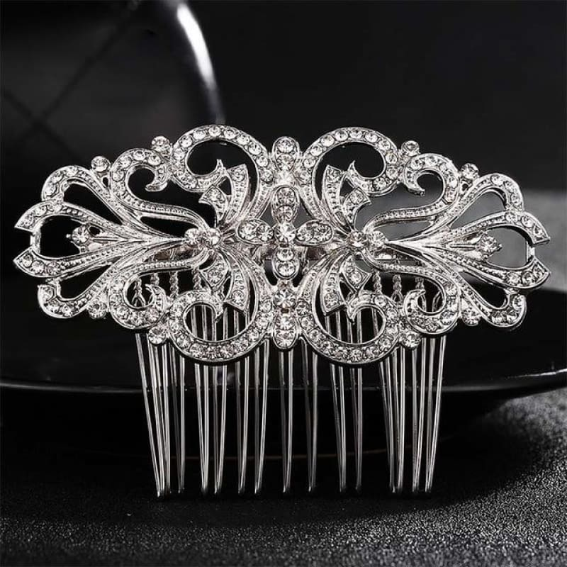 Wedding Hair Combs Crystal Rhinestones Pearls - Hs-J4194 Silver - Custom Made | Free Shipping