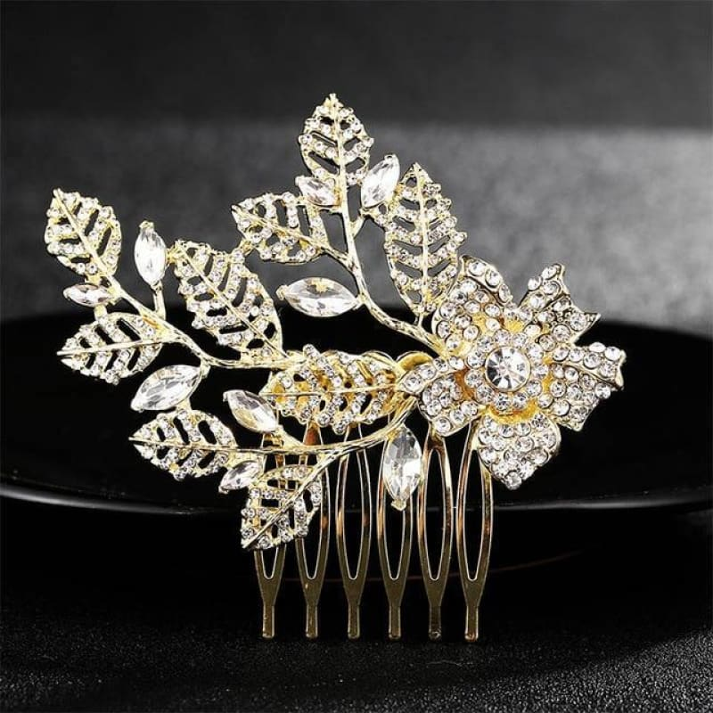 Wedding Hair Combs Crystal Rhinestones Pearls - Hs-J4377 Gold - Custom Made | Free Shipping