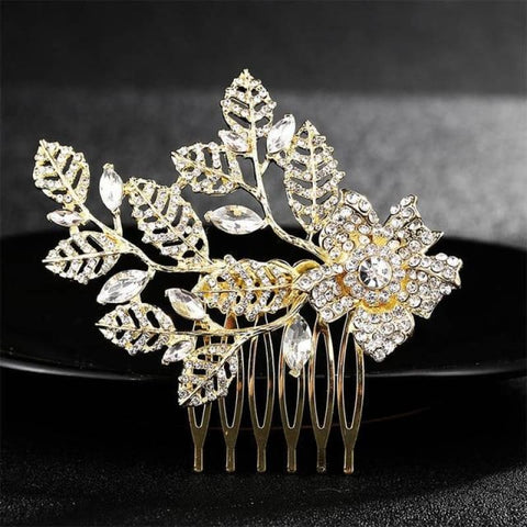 Image of Wedding Hair Combs Crystal Rhinestones Pearls - Hs-J4377 Gold - Custom Made | Free Shipping