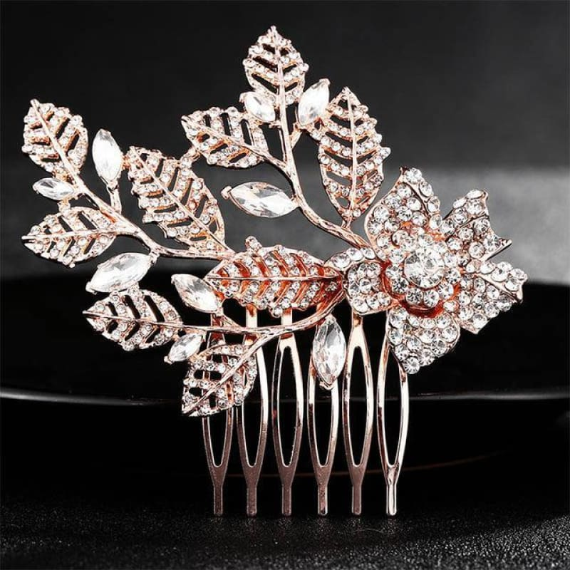 Wedding Hair Combs Crystal Rhinestones Pearls - Hs-J4377 Rose Gold - Custom Made | Free Shipping