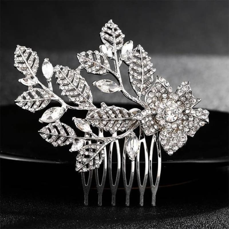 Wedding Hair Combs Crystal Rhinestones Pearls - Hs-J4377 Silver - Custom Made | Free Shipping