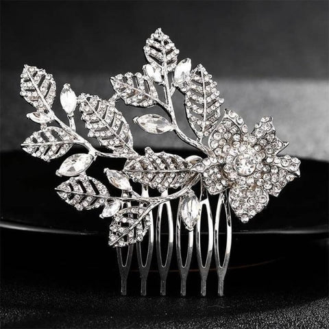 Image of Wedding Hair Combs Crystal Rhinestones Pearls - Hs-J4377 Silver - Custom Made | Free Shipping