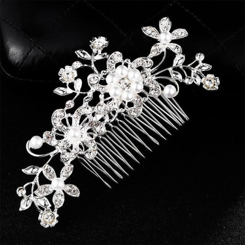 Wedding Hair Combs Crystal Rhinestones Pearls - Hs-J4513 Silver - Custom Made | Free Shipping