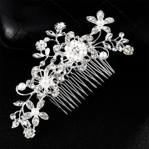 Image of Wedding Hair Combs Crystal Rhinestones Pearls - Hs-J4513 Silver - Custom Made | Free Shipping