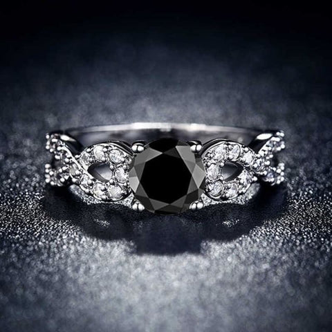 Image of Wedding Rings White Gold Color Luxury - 10 / Black - Custom Made | Free Shipping