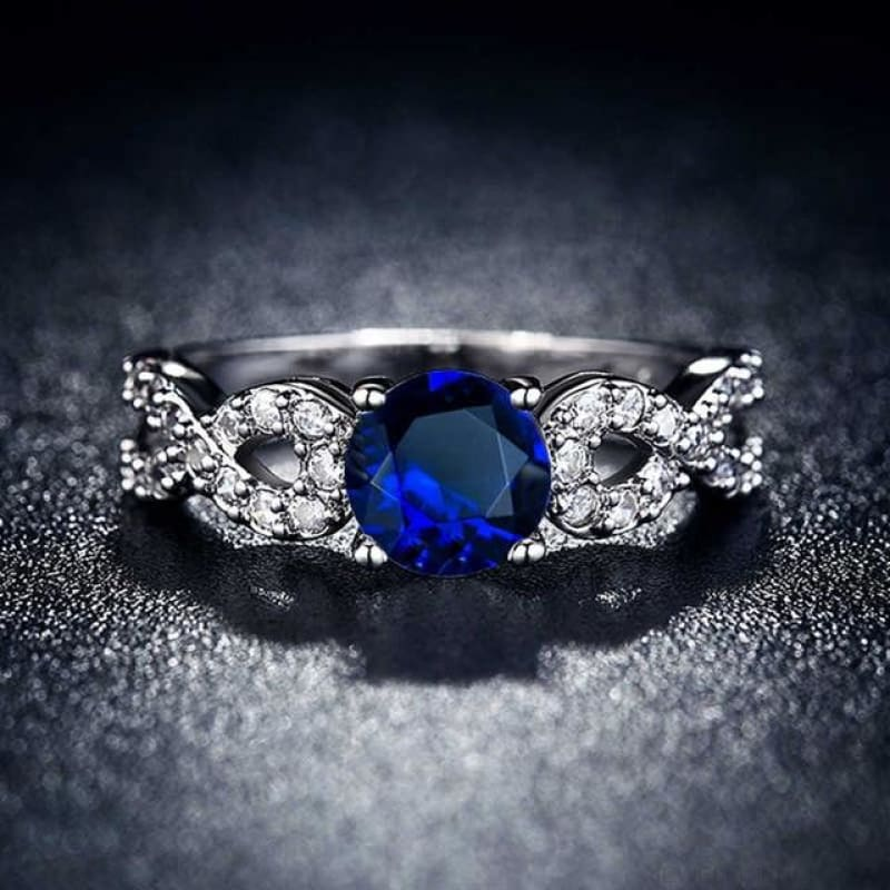 Wedding Rings White Gold Color Luxury - 10 / Blue - Custom Made | Free Shipping