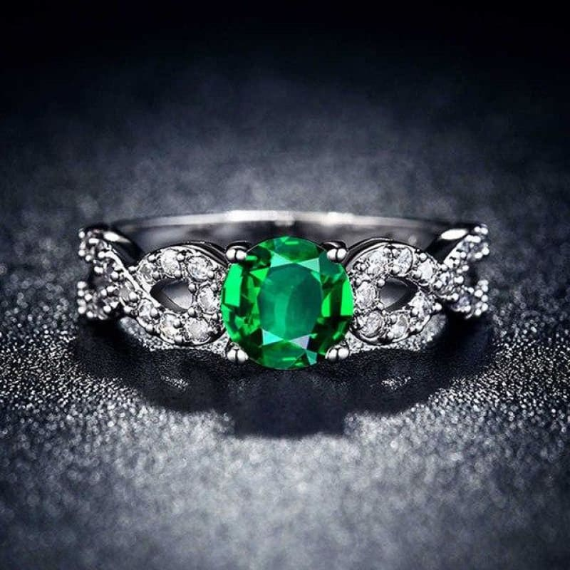 Wedding Rings White Gold Color Luxury - 10 / Green - Custom Made | Free Shipping
