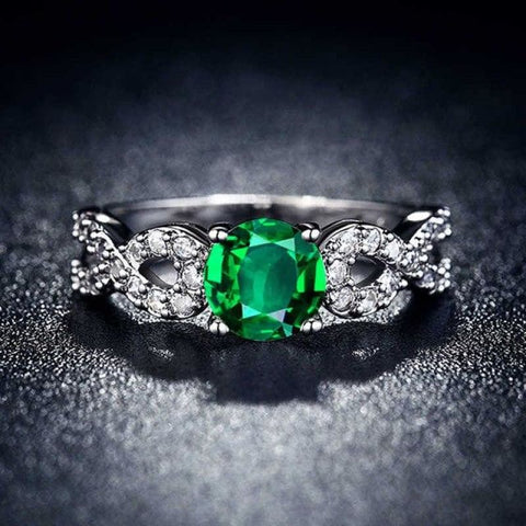 Image of Wedding Rings White Gold Color Luxury - 10 / Green - Custom Made | Free Shipping
