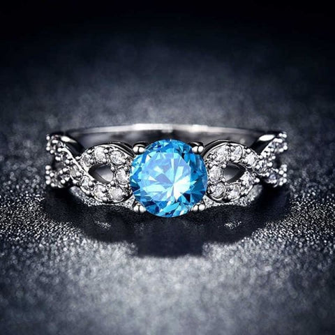 Image of Wedding Rings White Gold Color Luxury - 10 / Sky Blue - Custom Made | Free Shipping