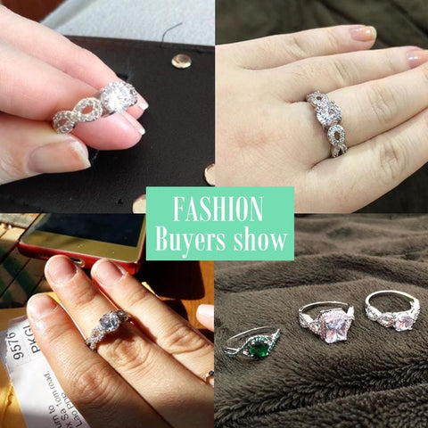 Image of Wedding Rings White Gold Color Luxury - Custom Made | Free Shipping