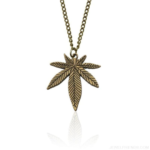 Weed Herb Leaf Pendants Necklaces - Bronze Necklace - Custom Made | Free Shipping