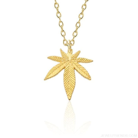 Weed Herb Leaf Pendants Necklaces - Gold Necklace - Custom Made | Free Shipping