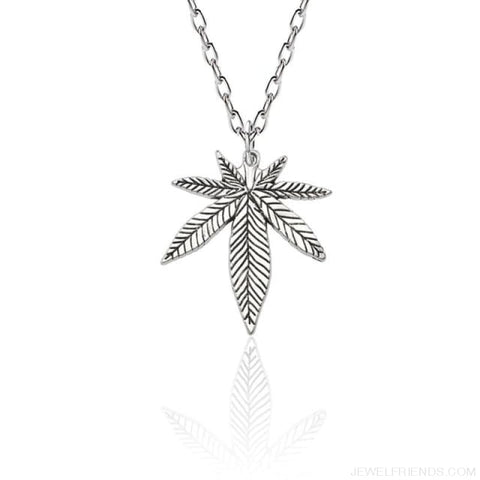 Weed Herb Leaf Pendants Necklaces - Silver Necklace - Custom Made | Free Shipping