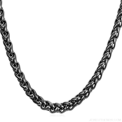 Wheat Chain Stainless Steel 3Mm/6Mm/9Mm Twisted Necklace - Black Gun Plated / Width 3Mm / 46Cm 18Inches - Custom Made | Free Shipping