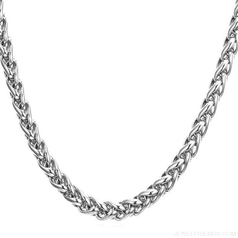 Wheat Chain Stainless Steel 3Mm/6Mm/9Mm Twisted Necklace - Stainless Steel / Width 3Mm / 46Cm 18Inches - Custom Made | Free Shipping