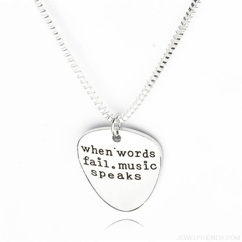 When Words Fail Music Speaks Guitar Pick Necklace - Custom Made | Free Shipping