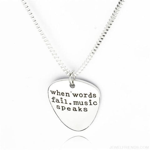 Image of When Words Fail Music Speaks Guitar Pick Necklace - Custom Made | Free Shipping