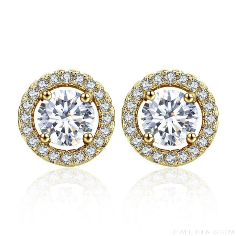 White Gold Color Aaa Zircon Round Earrings - 18K Gold Color - Custom Made | Free Shipping