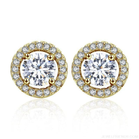 Image of White Gold Color Aaa Zircon Round Earrings - 18K Gold Color - Custom Made | Free Shipping