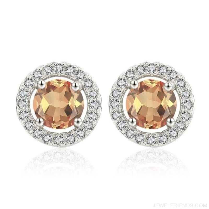White Gold Color Aaa Zircon Round Earrings - A339 - Custom Made | Free Shipping