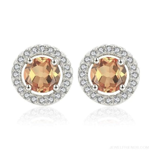 Image of White Gold Color Aaa Zircon Round Earrings - A339 - Custom Made | Free Shipping