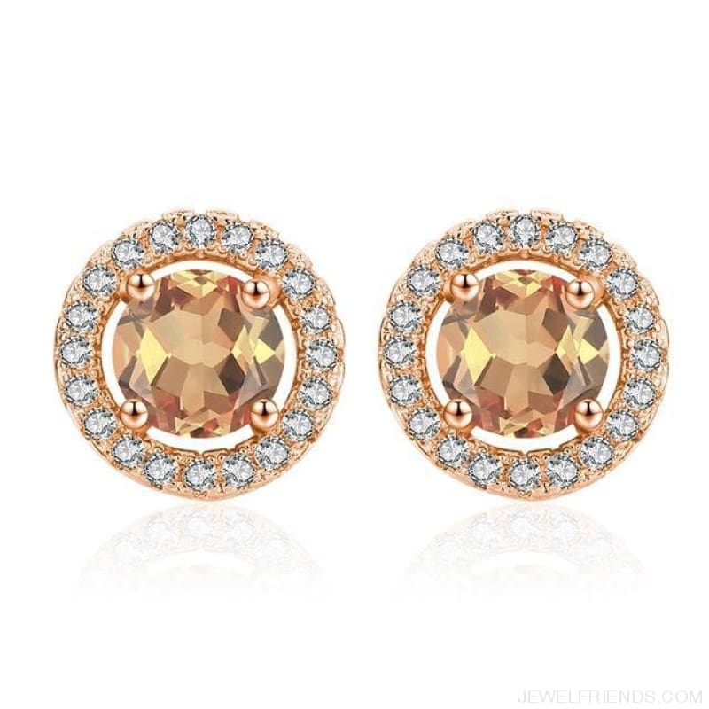 White Gold Color Aaa Zircon Round Earrings - A340 - Custom Made | Free Shipping