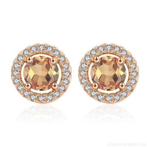 Image of White Gold Color Aaa Zircon Round Earrings - A340 - Custom Made | Free Shipping